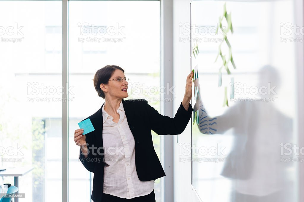 Woman with Sticky Notes stock photo