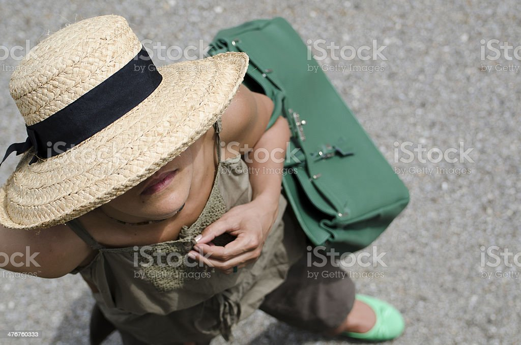 Woman with straw hat royalty-free stock photo
