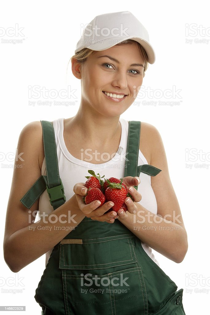 Woman with strawberries stock photo