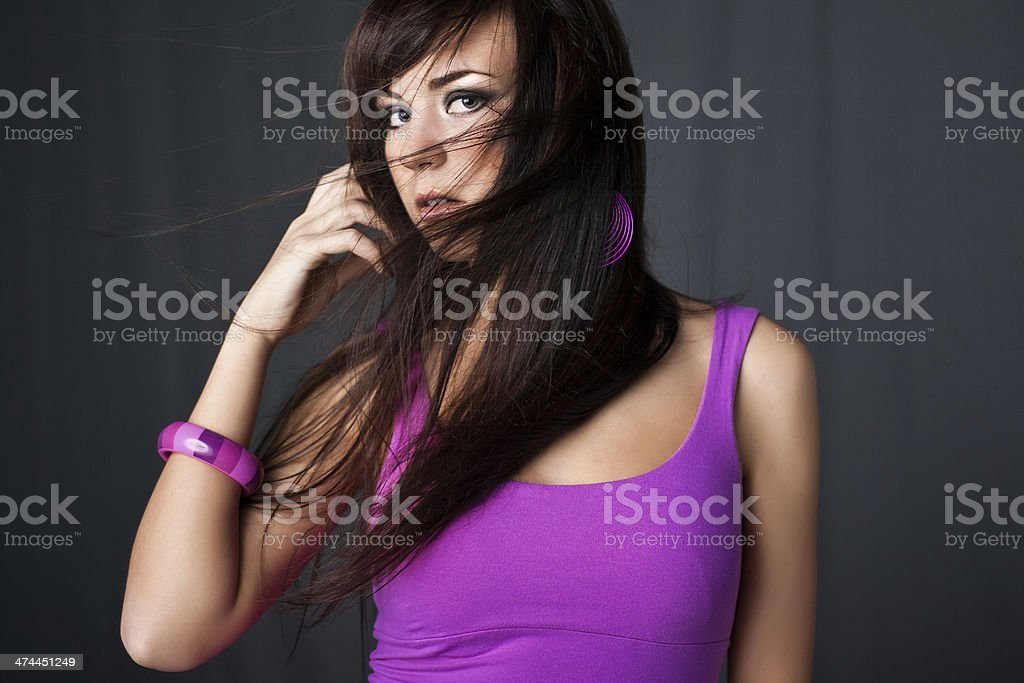 Woman with streaming hair stock photo