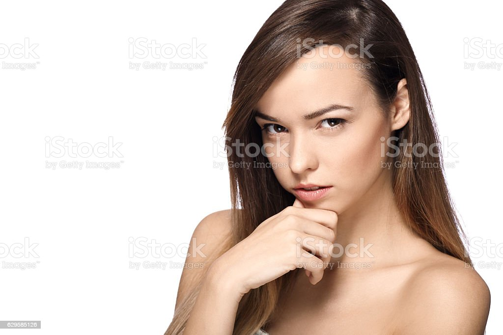 woman with strong look stock photo