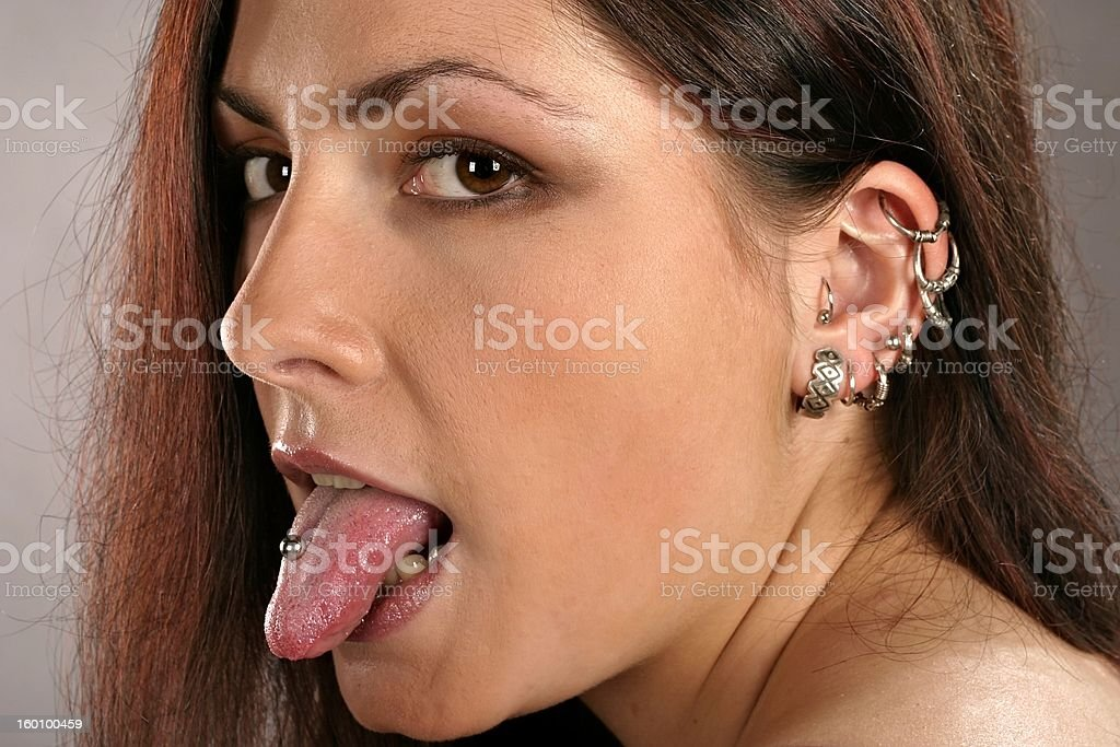 woman with studs royalty-free stock photo