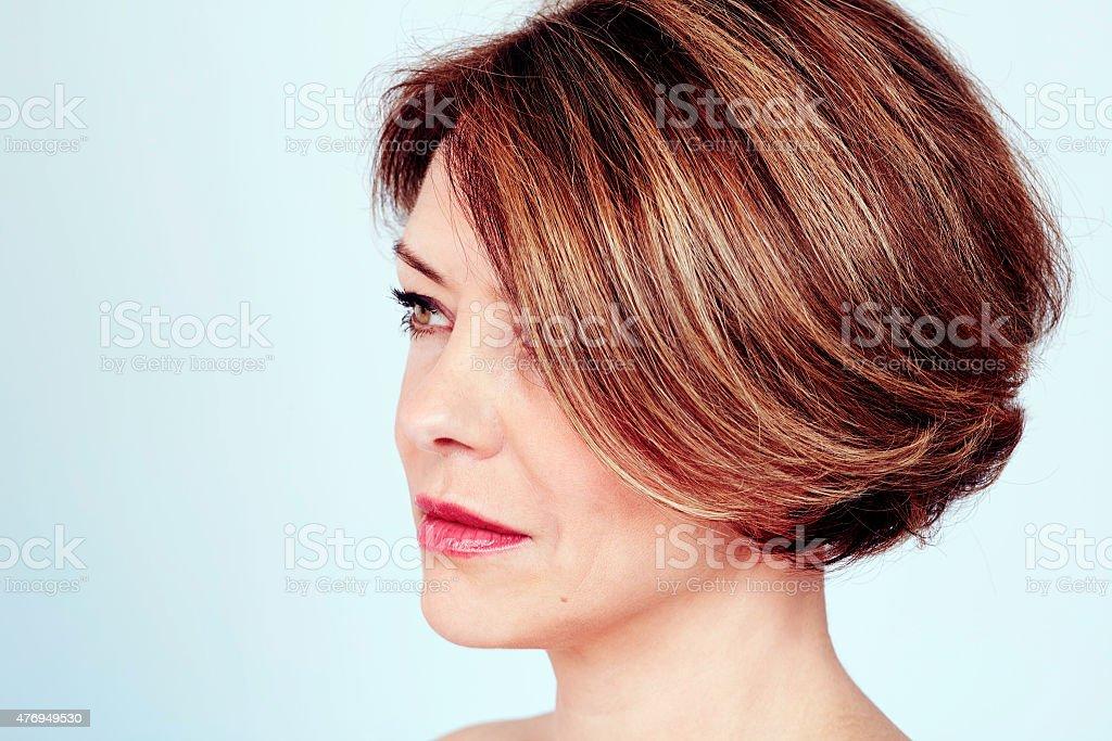 Woman with stylish haircut stock photo