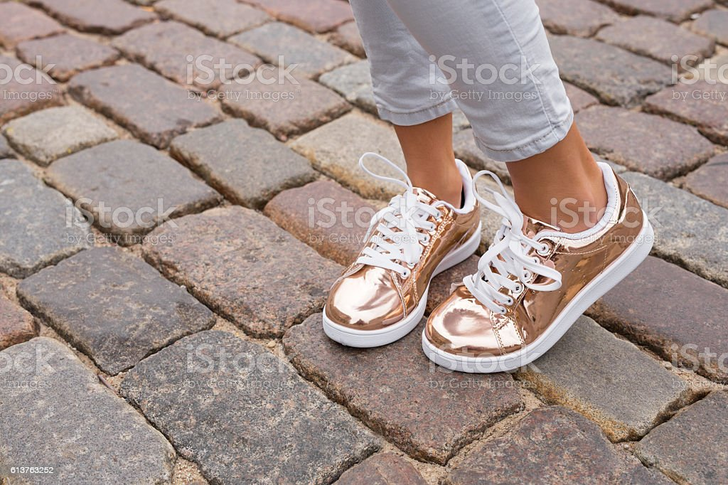 Woman with stylish shoes in the city stock photo