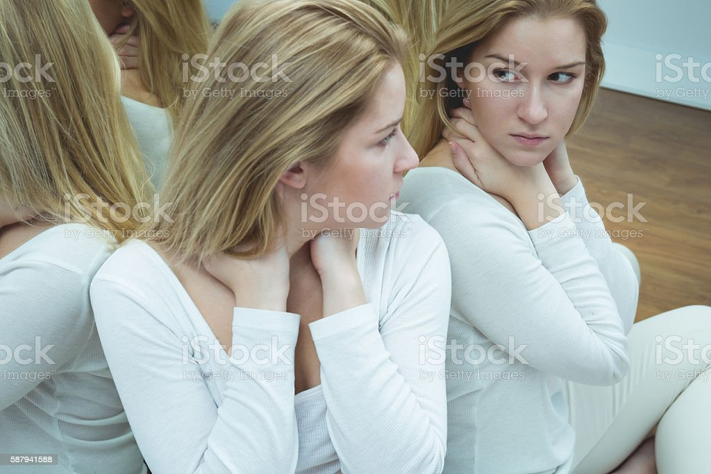 Woman with suicidal thoughts stock photo