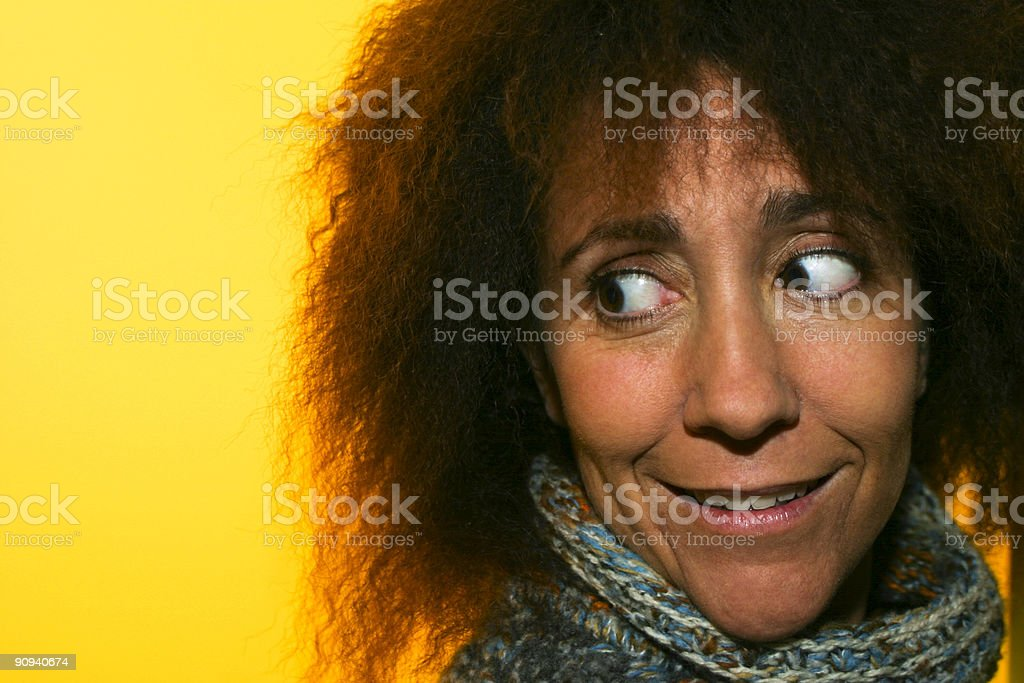 Woman with suspicious look stock photo