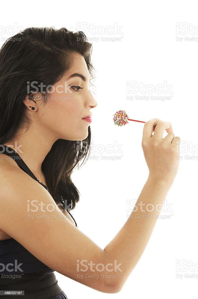 Woman with sweet sugar lollipop royalty-free stock photo