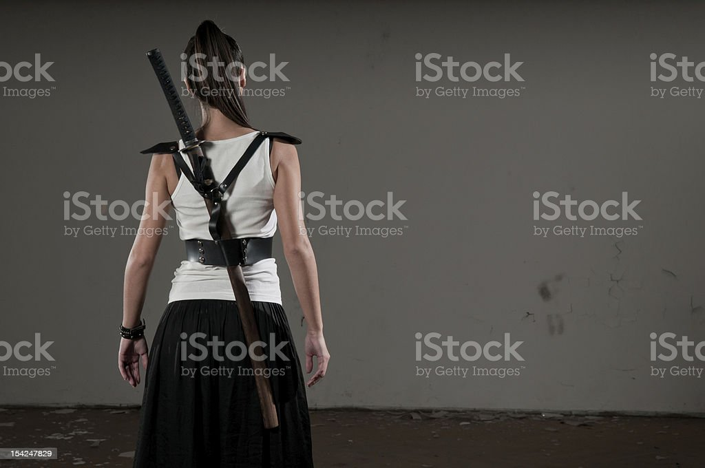 Woman With Sword stock photo