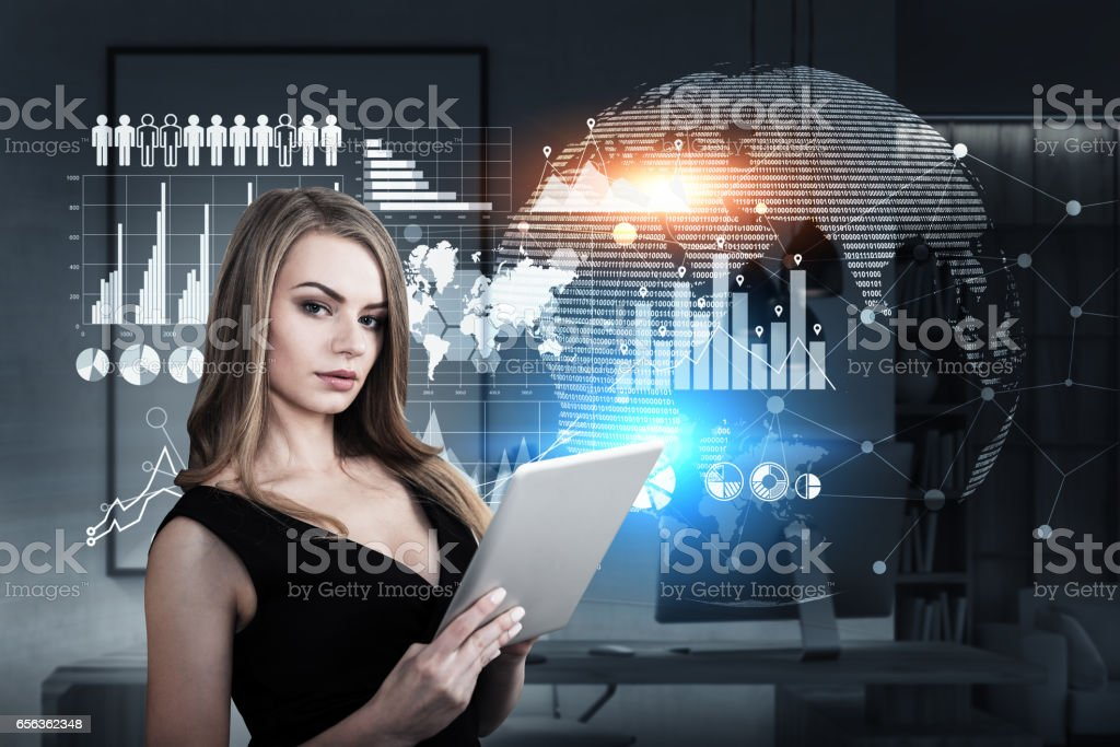 Woman with tablet in spaceship stock photo