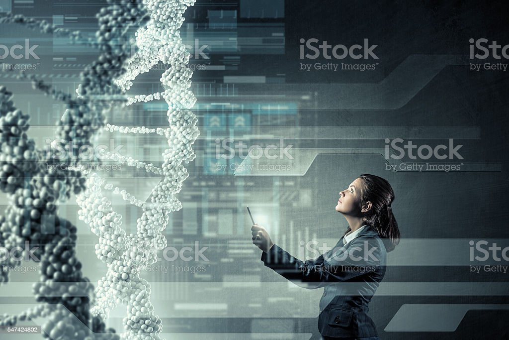 Woman with tablet pc . Mixed media stock photo
