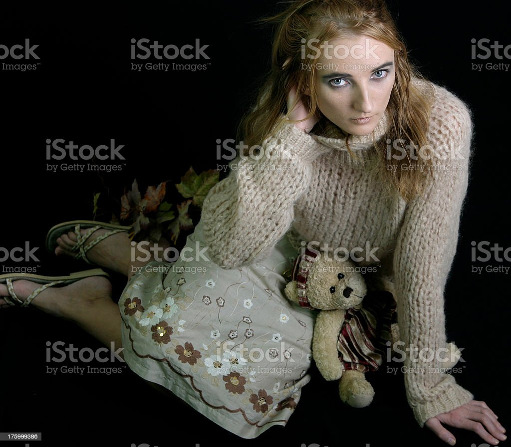 woman with teddy bear royalty-free stock photo