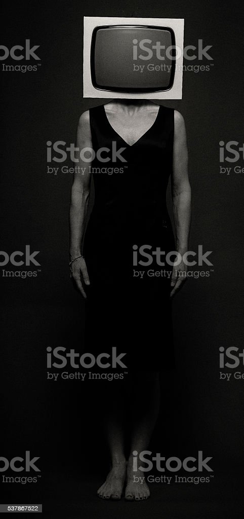 Woman with Television stock photo