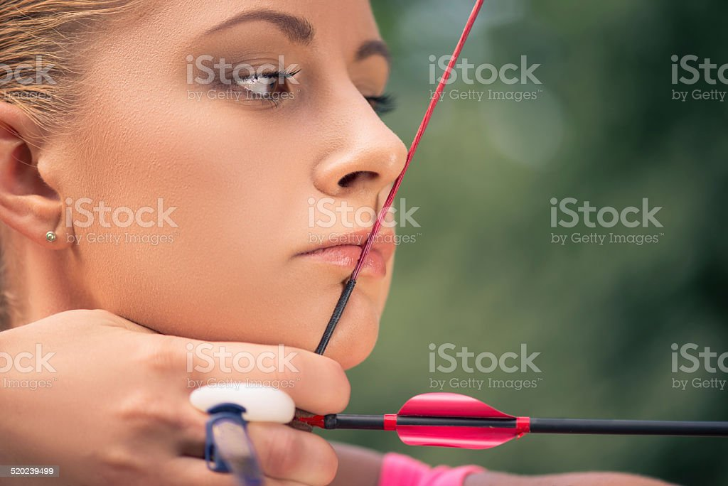 Woman with the bow stock photo