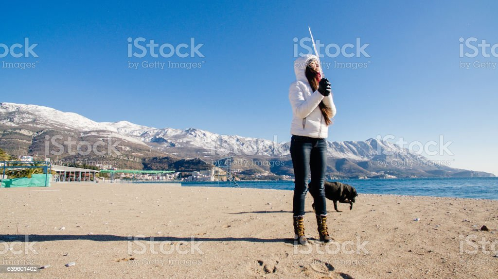 woman with the dog on beach in winter stock photo