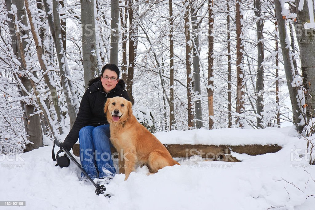Woman with the dog royalty-free stock photo