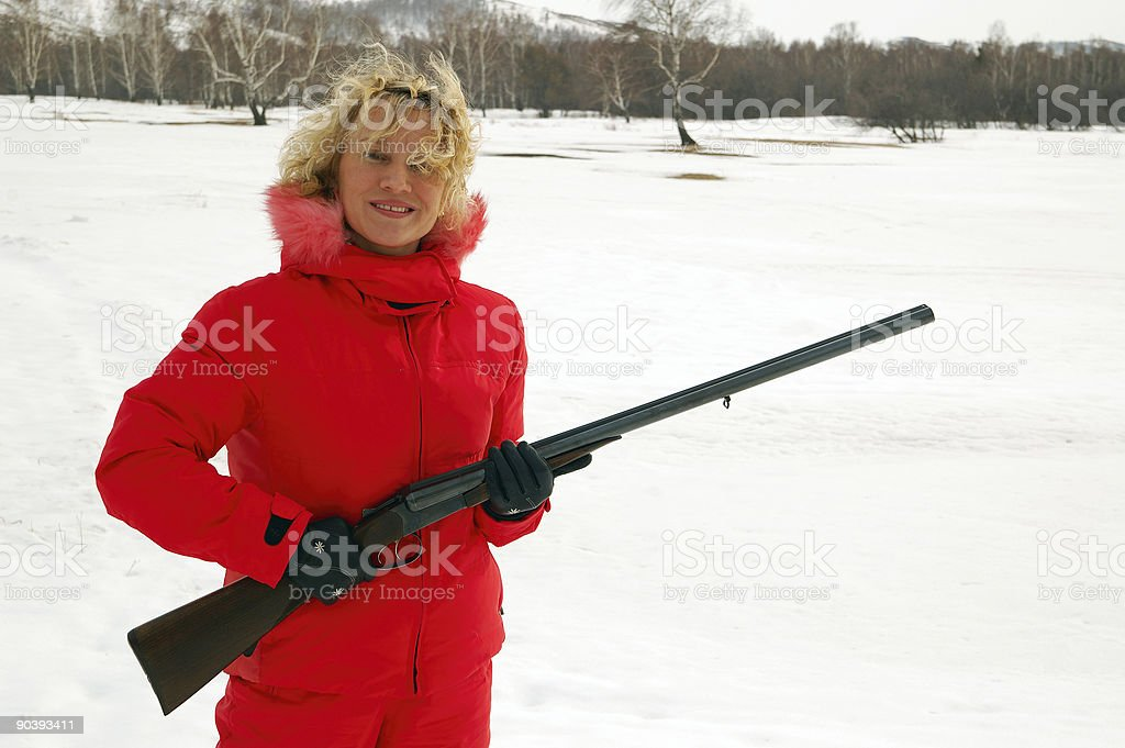 Woman with the Gun-9 royalty-free stock photo