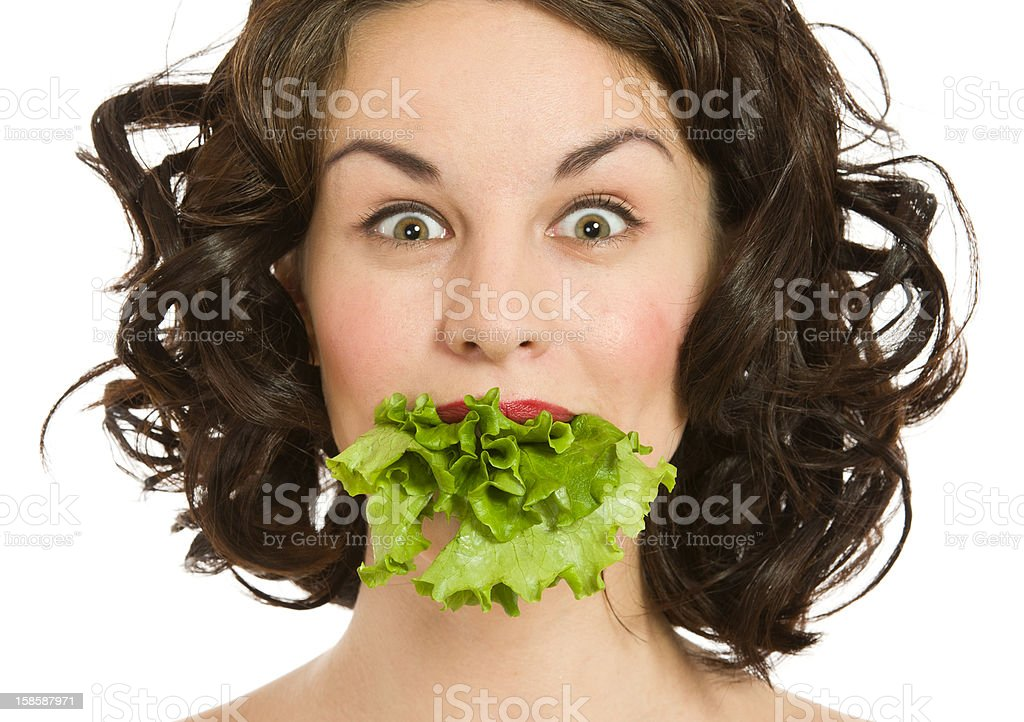 Woman with the lettuce royalty-free stock photo