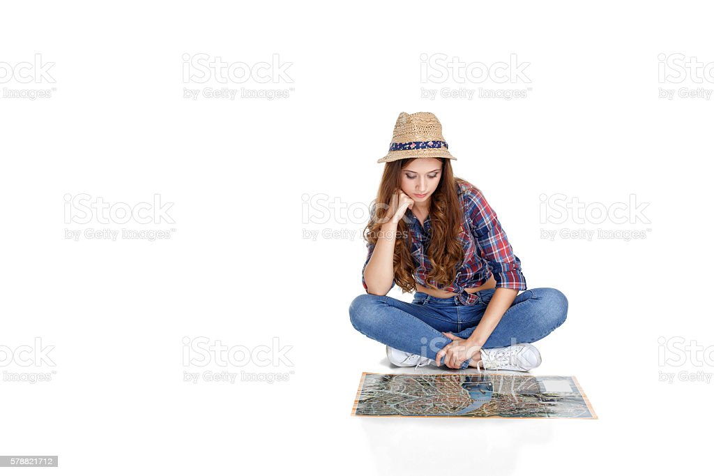 woman  with the map stock photo