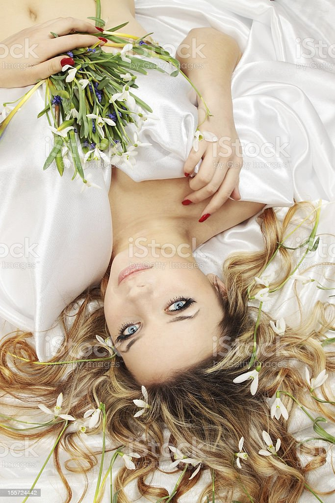 woman with the snowdrops royalty-free stock photo