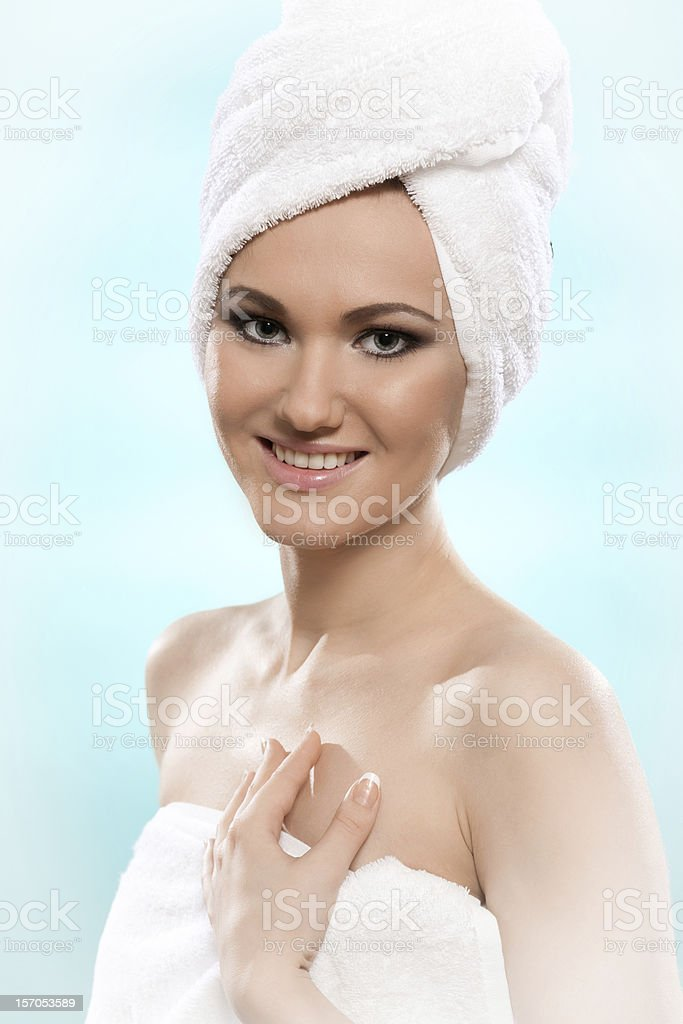 woman with the towel stock photo