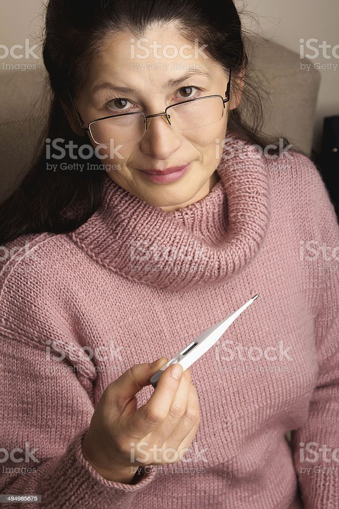 Woman with Thermometer royalty-free stock photo