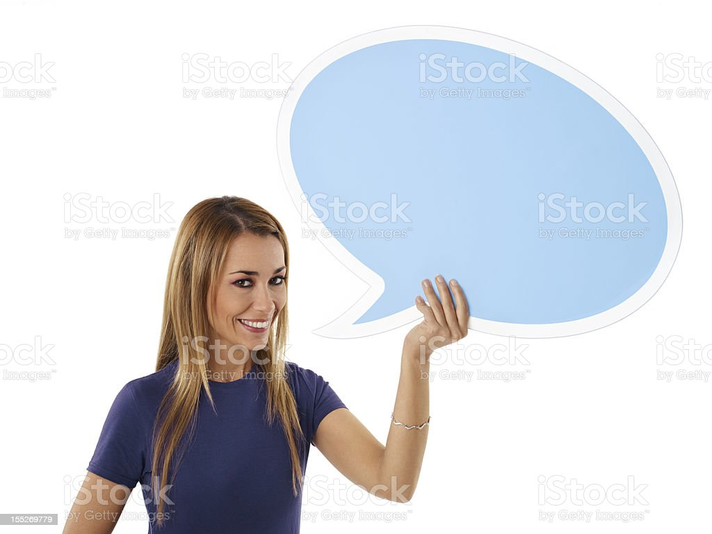 woman with think balloon royalty-free stock photo