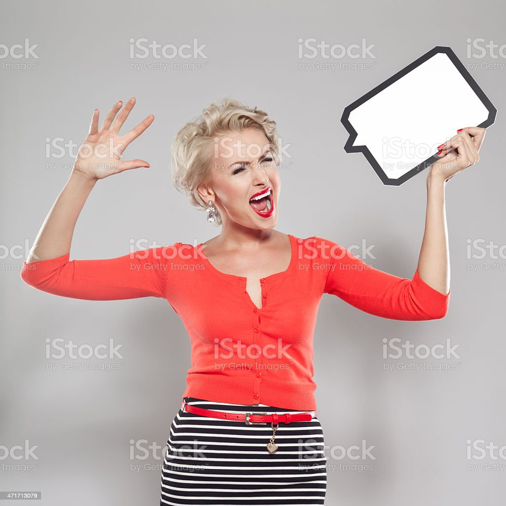 Woman with thought bubble royalty-free stock photo