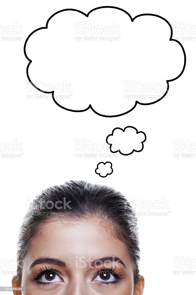 Woman with thought bubbles stock photo