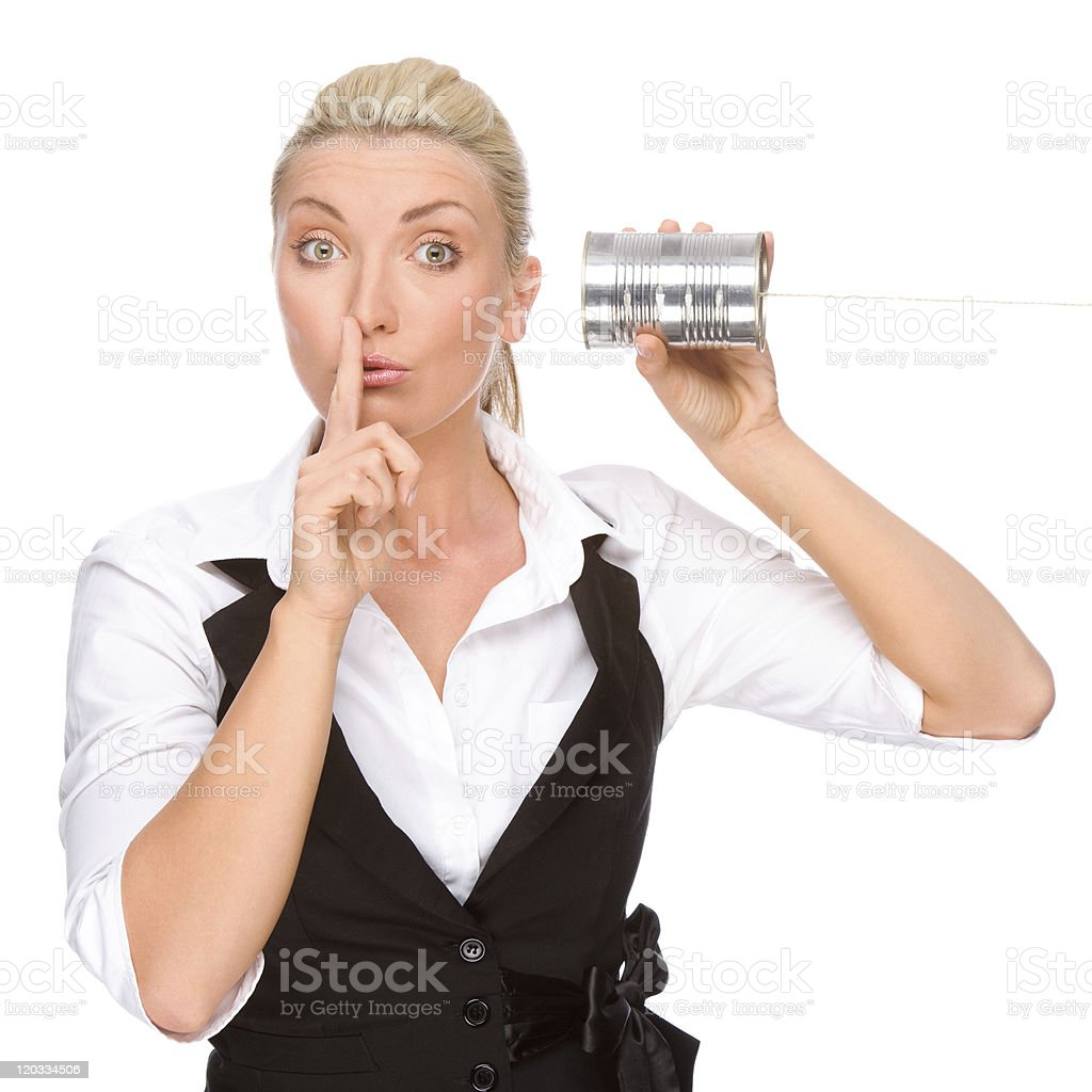 Woman with tin phone royalty-free stock photo