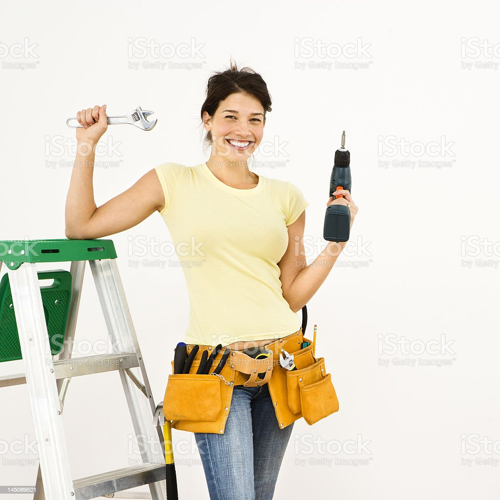 Woman with tools. royalty-free stock photo