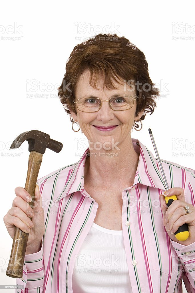 Woman with tools stock photo