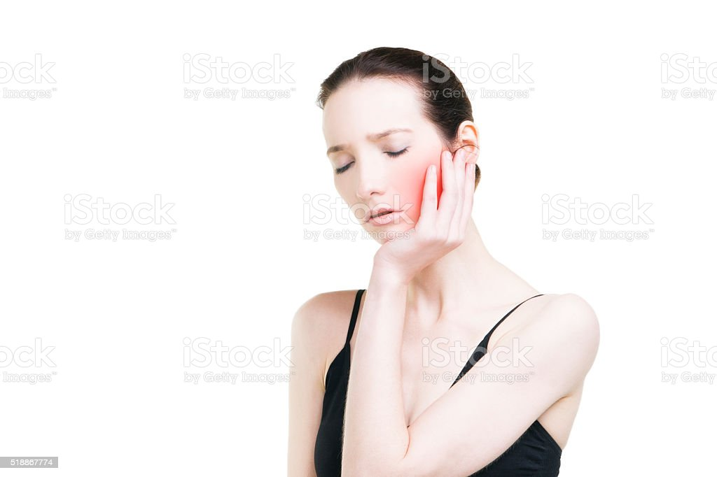 Woman with toothache isolated on white background stock photo