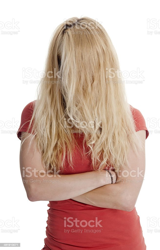 woman with tousled hair stock photo