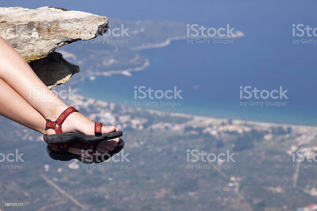 Woman with trekking sandals royalty-free stock photo
