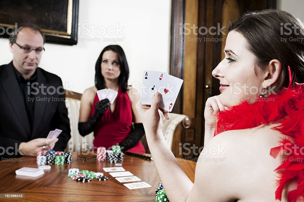 Woman with two aces royalty-free stock photo