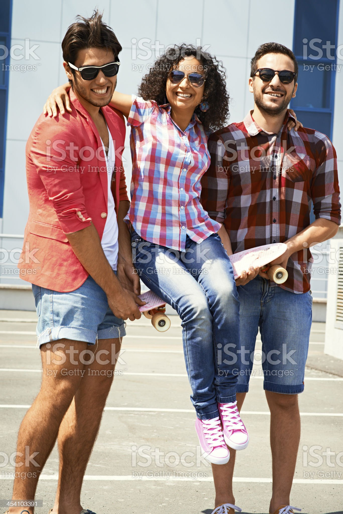 Woman with two boys royalty-free stock photo