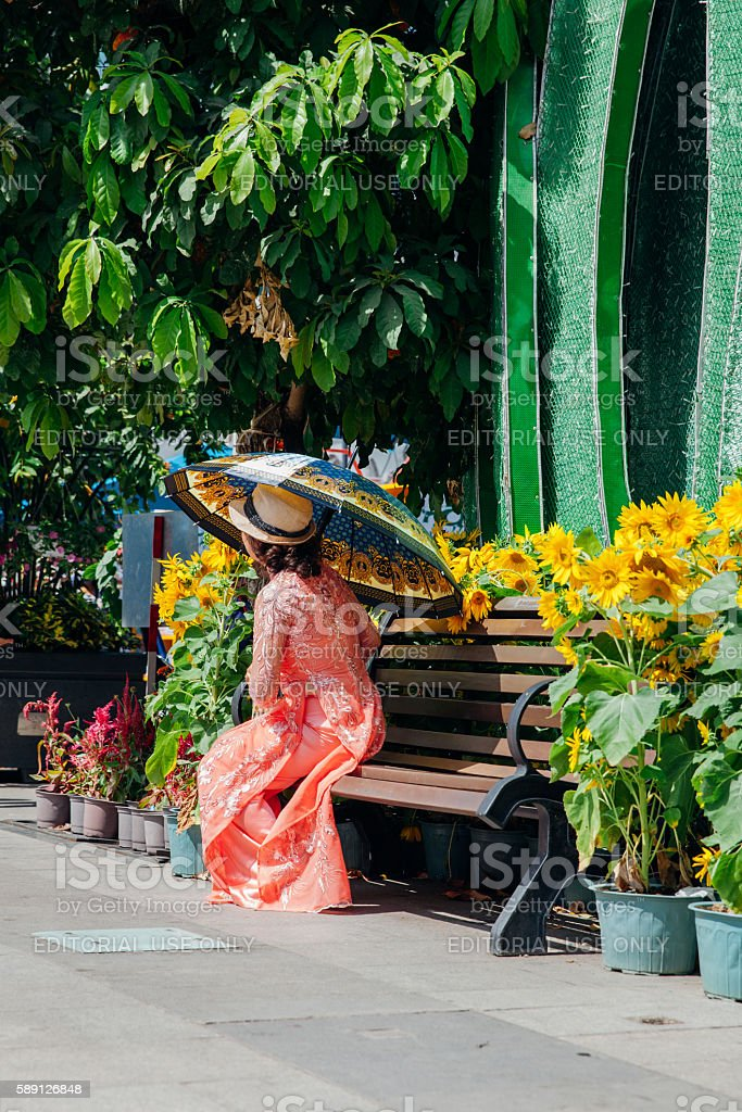 Woman with umbrella in Ao Dai dress, Vietnam stock photo