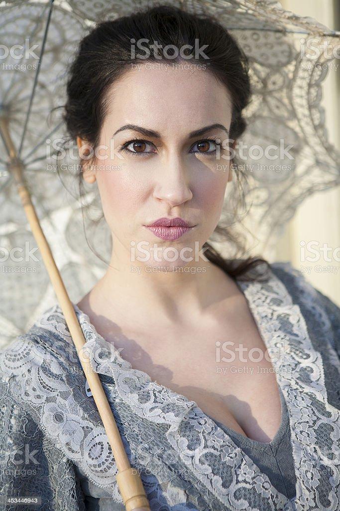 woman with umbrella on street royalty-free stock photo