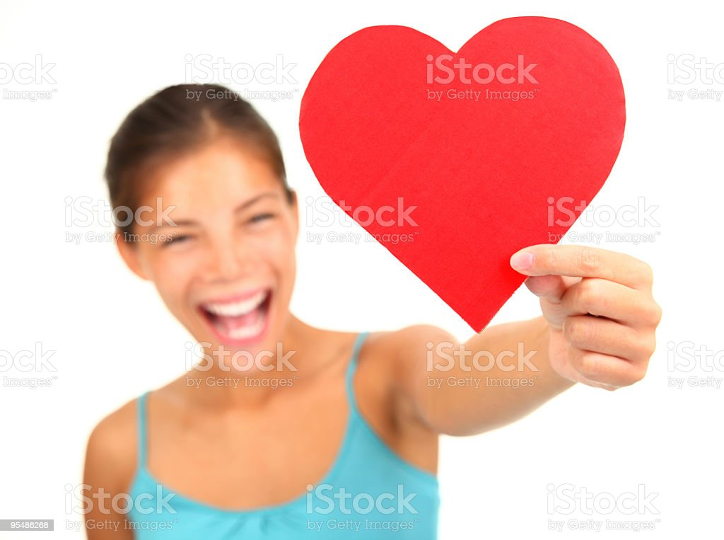 Woman with Valentine's Day heart royalty-free stock photo