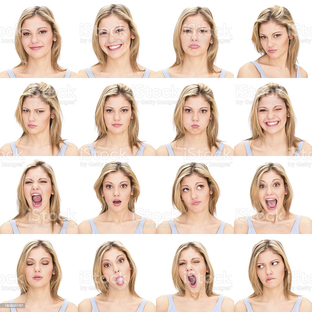 Woman with varying facial expressions stock photo