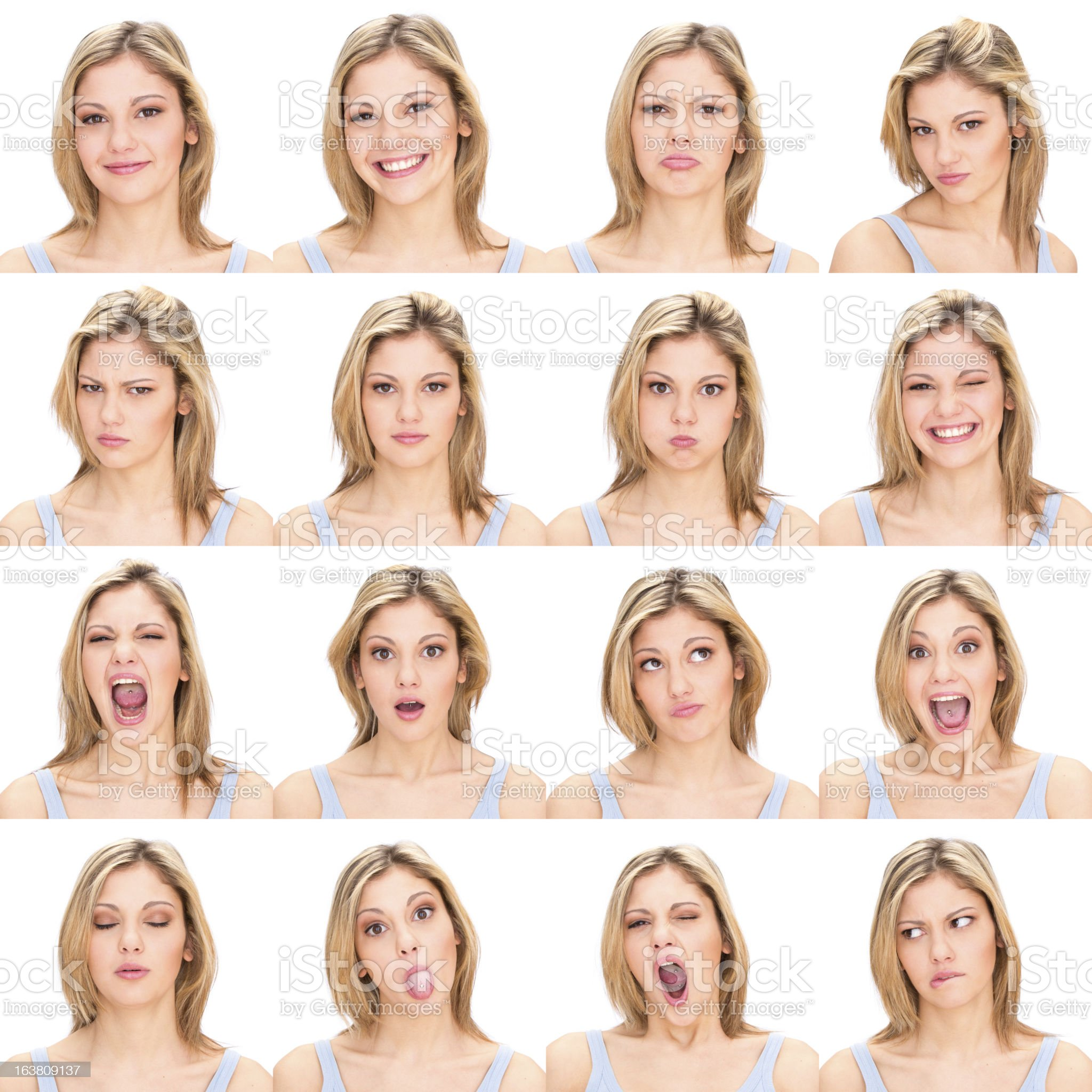 Woman with varying facial expressions royalty-free stock photo