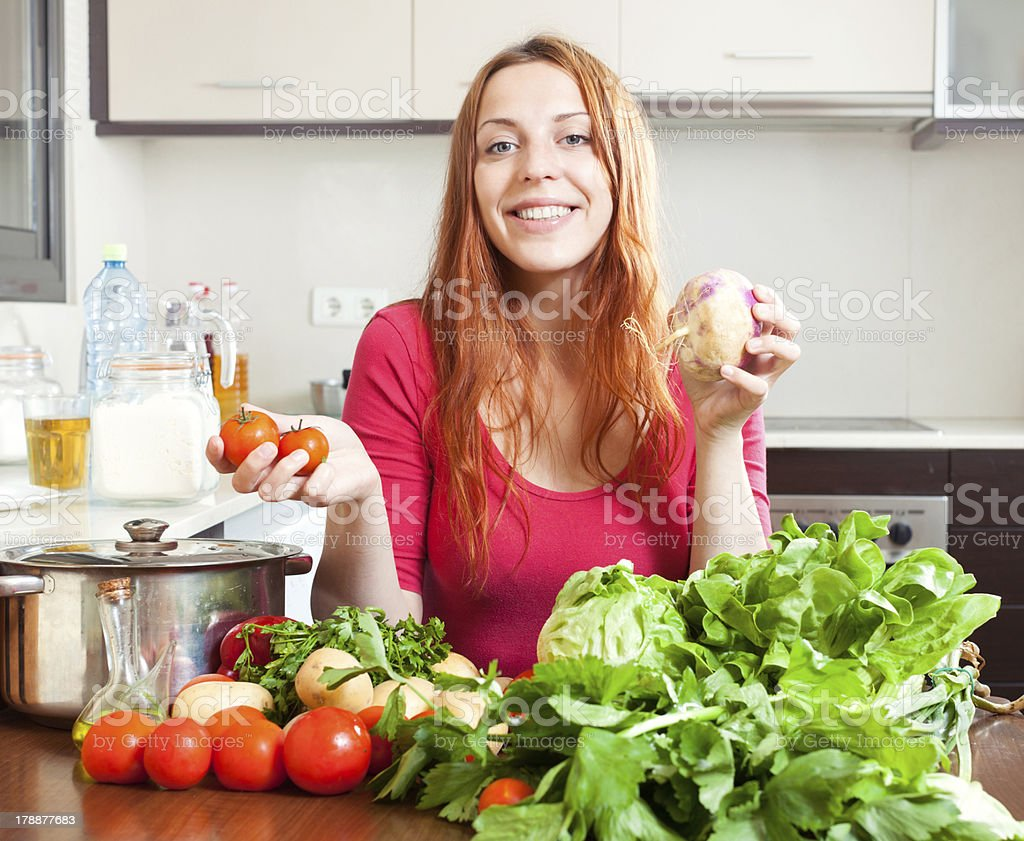 woman with  vegetables and greens royalty-free stock photo