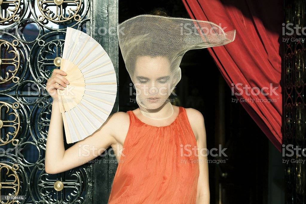 Woman with veil stock photo