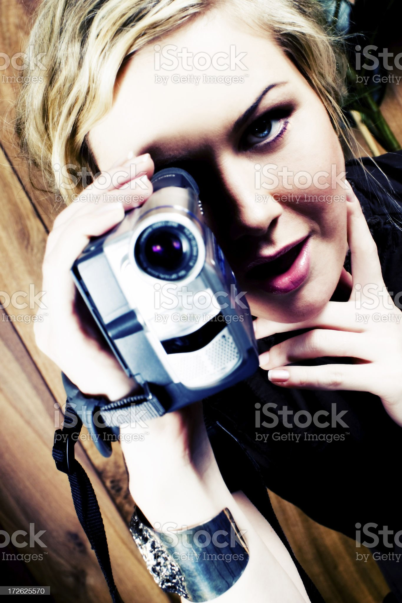 woman with video camera royalty-free stock photo