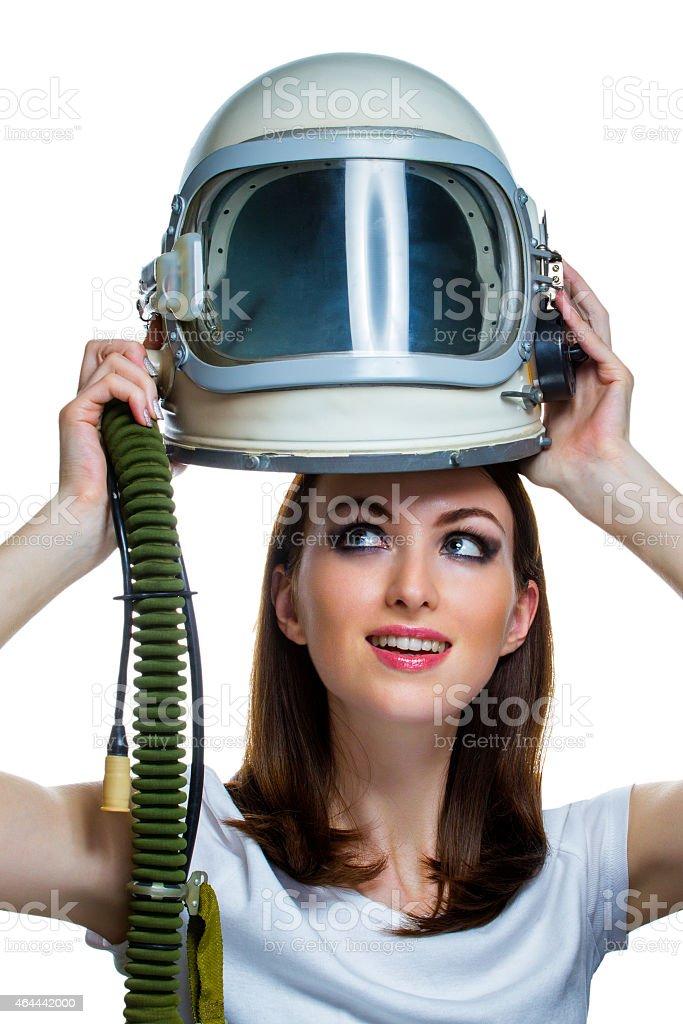 Woman with vintage astronaut helmet stock photo