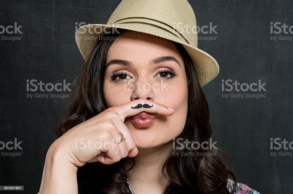 Woman With Vintage Moustache stock photo