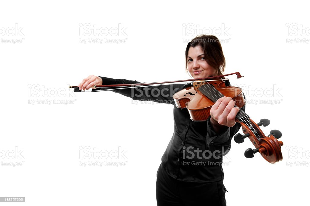 Woman with violin, isolated on white royalty-free stock photo