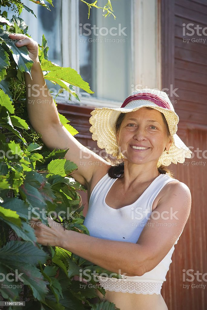 woman  with  virginia creeper stock photo