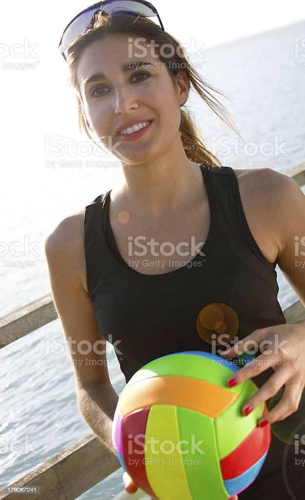 Woman with volleyball ball royalty-free stock photo