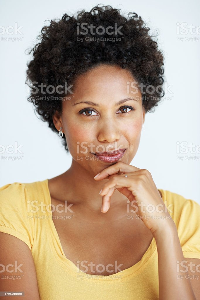 Woman with warm smile stock photo
